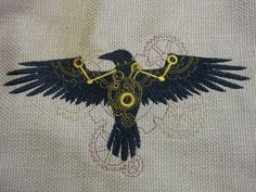 Steampunk raven embroidery