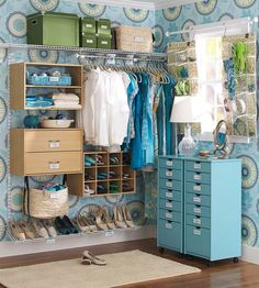 A Pretty Closet: Wallpaper, Labels, Baskets, Drawers and Open Storage