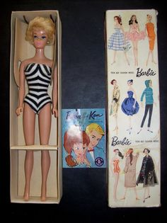 VINTAGE 1959 BARBIE WHITE GINGER BUBBLE CUT STOCK NO 850 - WITH ORIGINAL BOX! #DollswithClothingAccessories