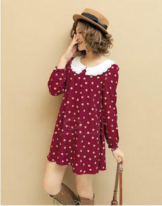 Wholesale Cute Doll Collar Polka Dot Print Chiffon Spring Dress For Women (RED,ONE SIZE), Chiffon Dresses - Rosewholesale.com
