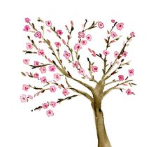 Almond  Tree art print of  Original watercolor by TheJoyofColor, $21.00
