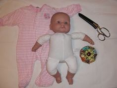 baby clothes into doll clothes - maybe I can do this with some clothes that are stained?