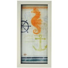 New View Nautical Seahorse Framed Wall Art ($9.99) ❤ liked on Polyvore featuring home, home decor, wall art, multicolor, seahorse wall art, seahorse home decor, nautical home decor, colorful home decor and nautical theme home decor