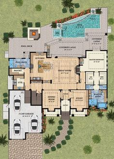 Mediterranean Style House Plan - 4 Beds 5.00 Baths 4080 Sq/Ft Plan #548-15 Floor Plan - Main Floor Plan - Houseplans.com