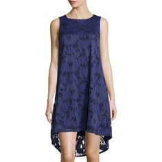 Neiman Marcus Sleeveless Floral Lace Sheath Dress ($35) ❤ liked on Polyvore featuring dresses, high low dresses, floral lace dress, floral dress, lace a line dress and blue floral dress