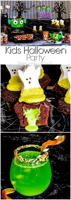 Craveyard Halloween Party | This fun kids' Halloween Party is full of all sorts of craveyard goodies. The ghost goo cupcakes are my favorite Halloween dessert recipe. We've also got a fun Halloween drink idea. This Halloween punch recipe is a bright green swamp water that guests are going to love! Lots of fun Halloween party decorations and Halloween party ideas that kids will love! AD #craveyard