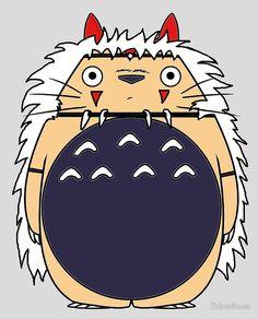 totoro, mononoke, san, ashitaka, deer, god, studio, ghibli, japan, movie, film, howl, kodama, spirit, totonoke, fun, fusion, mix, my neighbor, neighbor, princess, manga, anime, hayao, miyazaki, cross, over, crossover