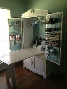 Turn an Armoire into a sewing cabinet