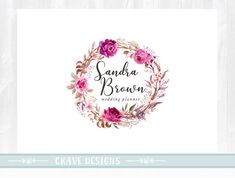 Floral Logo Design Photography Logo Wedding Logo Rustic