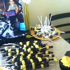 fancy bumble bee decoration bumble bee party fruit sticks bumble bee themed cupcakes