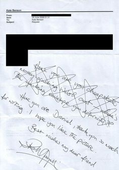 Autograph to a fan from Rik Mayall