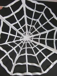 Mega•Spooky: crafts. Coffee filter cobweb craft.