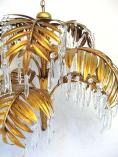 Vintage HOLLYWOOD REGENCY Gold Gilt PALM Leaf by fabulousmess
