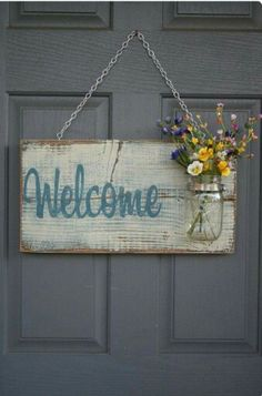 Rustic Outdoor Welcome Sign in blue/white - Wood Signs - Front Door Sign - Rustic Home Decor - Wedding Gift - Home Decor - Custom Sign Pallet Crafts, Wood Crafts, Primitive Crafts, Primitive Signs, Mason Jar Crafts, Mason Jars, Decor Crafts, Diy And Crafts, Quick Crafts