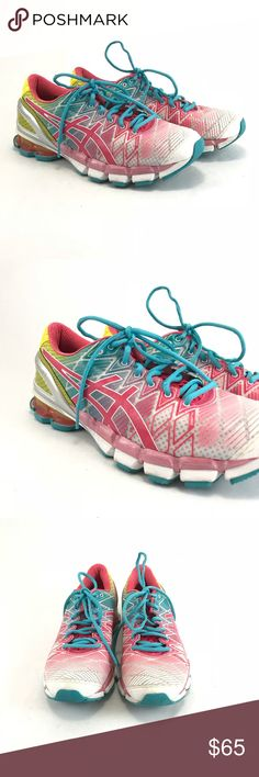 ASICS gel Kensei5 pink teaberry yellow sneakers Pre-owned ASICS gel Kensei5 pink teaberry yellow sneakers. Woman's size 10.5.  See pictures for condition Asics Shoes Sneakers