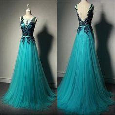 Long A-line Tulle Lace Prom Dresses, Unique Formal Evening Dresses, Cheap Prom Dress