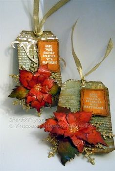 I tried the Tim Holtz pointsettia die and love the result! Can hardly wait to make more! The leaves were clear embossed in places to really bring the colours out. Christmas Gift Tags, Xmas Cards, Handmade Christmas, Holiday Cards, Christmas Crafts, Handmade Tags, Card Tags, Card Kit, Paper Tags