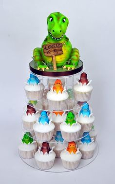 Dinosaur cupcake tower - by SuzieB @ CakesDecor.com - cake decorating website