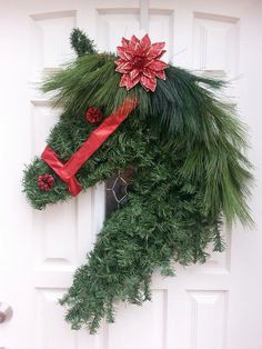 Christmas horse wreath, I would take that flower off!