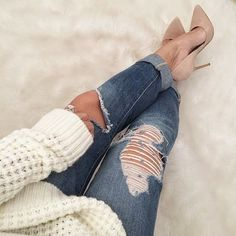distressed denim with nude pumps