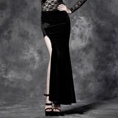 Gothic Velvet Long Pencil Skirts with Embroidery Detail and High Slit
