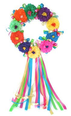 goes to a site to buy, but I could totally make this very easily. put bright colored flowers onto a wreath form and add streamers to the bottom.