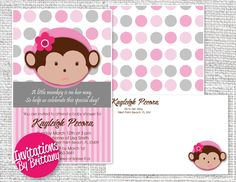 Pink and Grey Monkey Baby Shower Invitations and Matching Envelope. Inches on Cardstock Custom, Unique & Affordable Monkey Invitations, Baby Shower Invitations, Monkey Baby, Little Monkeys, You Are Invited, Pink Grey, Special Day, Card Stock, Envelope