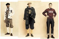 Plus fours and club sweaters are among the attire from the Benjamin Bixby clothing line. Not really my thing - but a good attempt at bringing plus fours. Mode Masculine, Latest Mens Fashion, Daily Fashion, Men's Fashion, School Fashion, Looks Vintage, Vintage Men, Vintage Style, 1930s Fashion