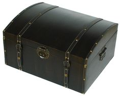 $49.95 Decorative DVD Trunk- Leather Black Designed for the Home!                                  Holds  300 DVD Pro//HiDef Pro,  325 DVD2/VCD,  360 CD Pro, 430 Classic, Binder or Data sleeves                   Leather coated wood, decorative leather edges                  Metal handle, leather  corners and feet                  Dim: 20 1/2 x 16 1/2 x 10 5/8 (w x d x h), Wt:18 lbs