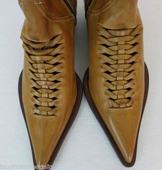 Cowboy Women Boots Maraolo Leather Italy 7 38 Eur Cut Out Tan Brown Western ugg Cyber Monday View More: www.yi5.org
