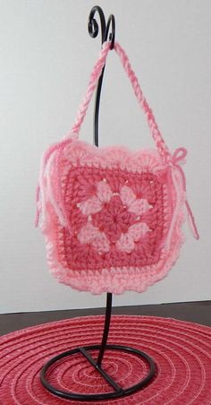 18 Inch Doll Pink Crochet Granny Square Purse by GranniesDollhouse