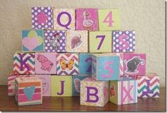 Detailed instructions and supply list for Baby Shower ABC blocks