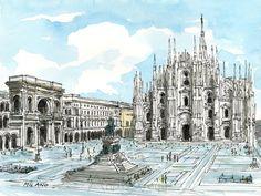 Milan-Italien Kunstdruck aus einer original Aquarell von AndreVoyy