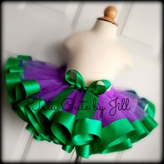 Sewn Purple Tutu With Emerald Green Satin Ribbon Trim. Tutu Cute By Jill on Etsy