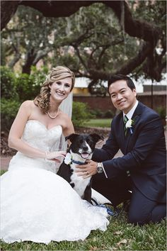 Hey we're a sucker for any wedding that includes a dog and this one also had homemade dog treat favors! Check out the rest of the images of this elegant navy and green affair as published on @weddingchicks  Venue was Marion's in the French Quarter of Charleston SC. Her dress by @allurebridals  Flowers by @wildflowersinc Grooms attire by @jcrew