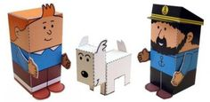The Adventures Of Tintin - Tintin Mini World Paper Toys - Dupond, Dupont And Professeur Tournesol - by Didier - == -  By French designer Mr. Didier, from My Little House website, here are Dupond, Dupont And Professeur Tournesol, more three paper toys from the series based in Tintin comics. You can choose between color or black and white version. Do not forget to see the other characters in this series on the smae link at the end of this post.