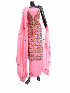 Hand Embroidered Cotton Salwar Suit- Peach: Buy Handloom Salwar Suits, ikat Suits, blockprint Suits, khadi salwar Suits and