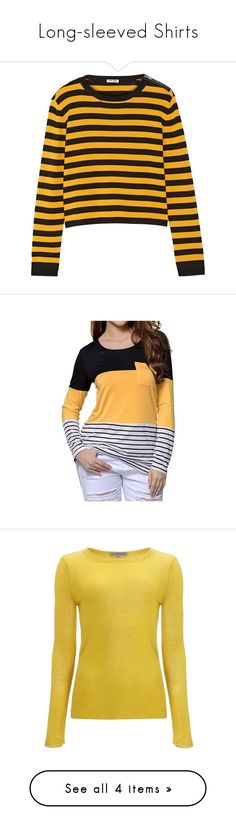 """""""Long-sleeved Shirts"""" by clsing ❤ liked on Polyvore featuring tops, sweaters, jumpers, shirts, saffron, high waisted shirts, zipper sweater, striped shirt, stripe shirt and stripe sweaters"""