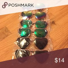 NIB Heart Sunglasses❤️ Never opened or taken out of packaging! Price is for one rainbow, green, or black pair of heart sunglasses Accessories Sunglasses