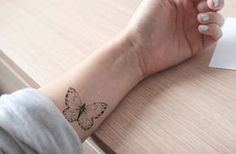 butterfly tattoo / fake tattoo / black and white by temptatco
