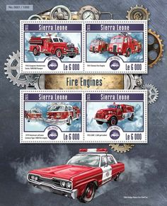 Post stamp Sierra Leone SRL 15206 a Fire engines (1956 Seagrave Anniversary Series 1000300 Pumper, 1951 Dennis Fire Engine, 1979 American LaFrance Century Type 1000 fire engine, 1952 GMC 1,500 gal tanker)