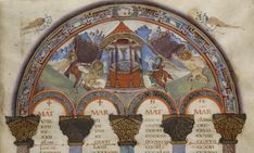 The Fountain of life. Arch of Canons 6, 7, and 8 from the Gospel Book from Saint-Médard de Soissons Early ninth century Illuminated manuscript page Bibliotheque Nationale, lat. 8850, fol. 11r, Paris, France