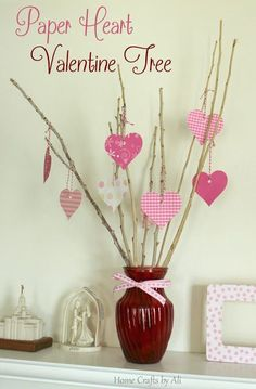 Paper Heart Valentine Tree - A simple 15 minute DIY project for Valentine Decor