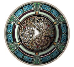 This intricately detailed Celtic knot design centers on a Triskelion - an ancient design made up of three interconnected spirals. It's framed by a jewelry-like ring that's in turn decorated with Celtic interlace.  by Bradley W. Schenck