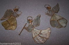 THREE-VINTAGE-STAINED-GLASS-STYLE-ANGEL-CHRISTMAS-ORNAMENTS