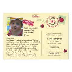 Ladybug Postcard Birthday Party Invitation