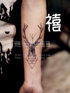 Jubilee Tattoo elk fawn male and female flower tattoo arm tattoo stickers waterproof tattoo sticker $16.90