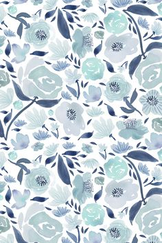 Blue rose watercolour florals blue - watercolor by laurawrightstudio - Hand painted blue and teal watercolor flowers on fabric, wallpaper, and gift wrap. Painterly watercolor flowers with a white background. #watercolor #floral #fabric #wallpaper #makeit #homedecor #weddingdec