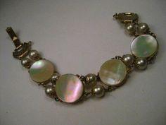 "Vintage Gold Tone Mother-of-Pearl & Faux Pearl Bracelet, 1940-1950's, 7.5"" #Unknown #linkedbracelet"