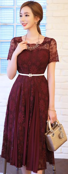StyleOnme_Floral Lace Chiffon Flared Dress #wine #floral #lace #feminine #elegant #koreanfashion #kstyle #kfashion #seoul #dress #summerlook